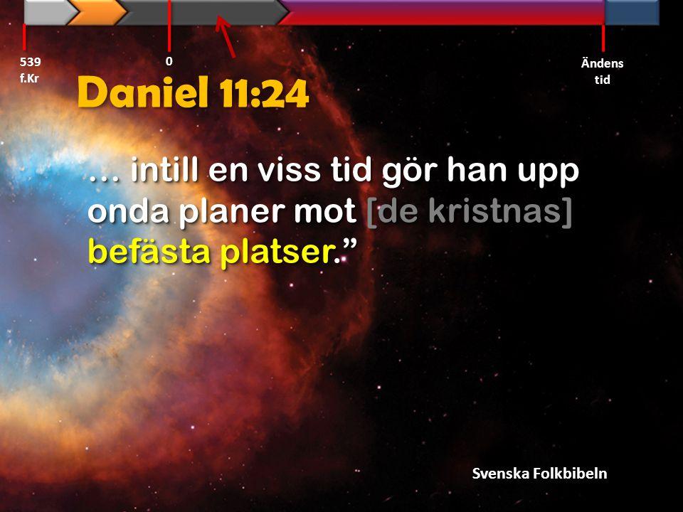 539 f.Kr Ändens tid. Daniel 11:24. … intill en viss tid gör han upp onda planer mot [de kristnas] befästa platser.